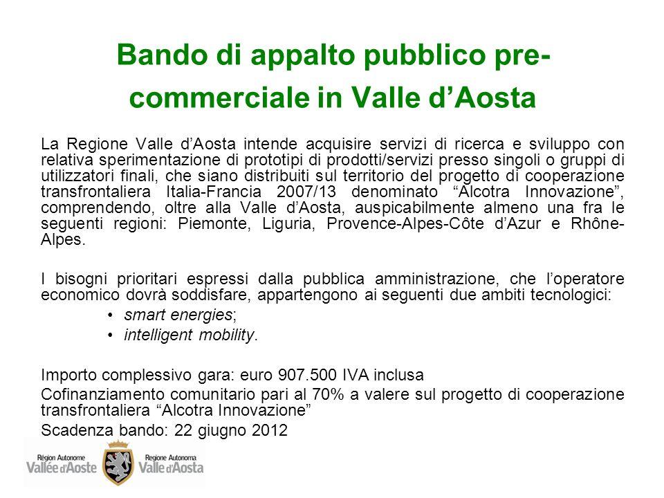 Bando di appalto pubblico pre-commerciale in Valle d'Aosta