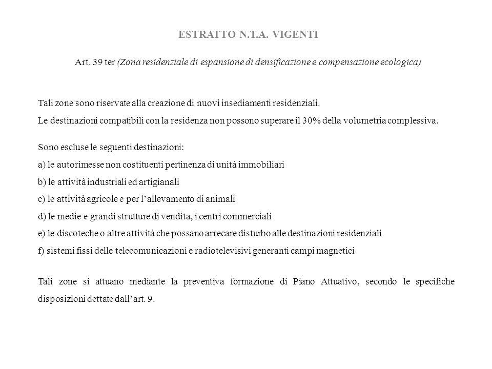 ESTRATTO N.T.A. VIGENTI Art. 39 ter (Zona residenziale di espansione di densificazione e compensazione ecologica)