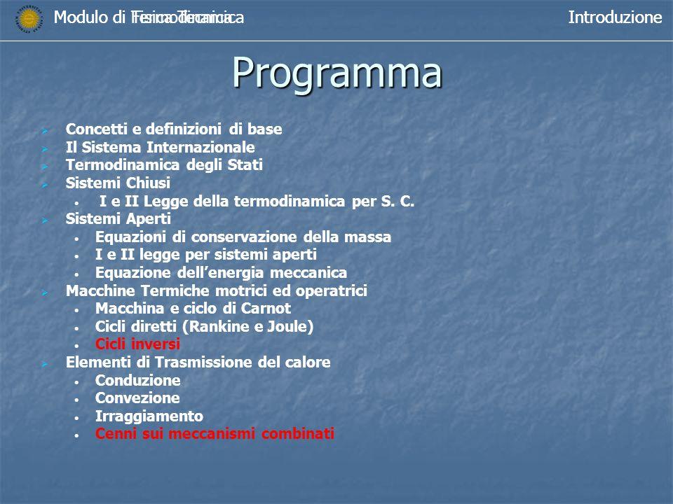Programma Modulo di Termodinamica Introduzione