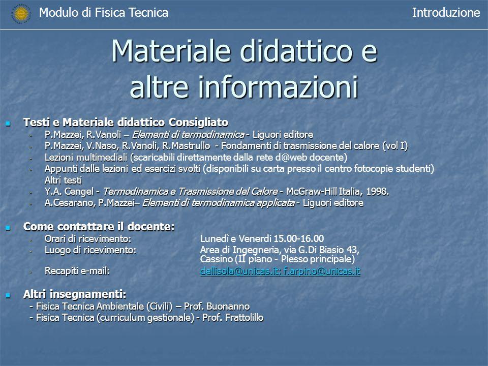 Materiale didattico e altre informazioni