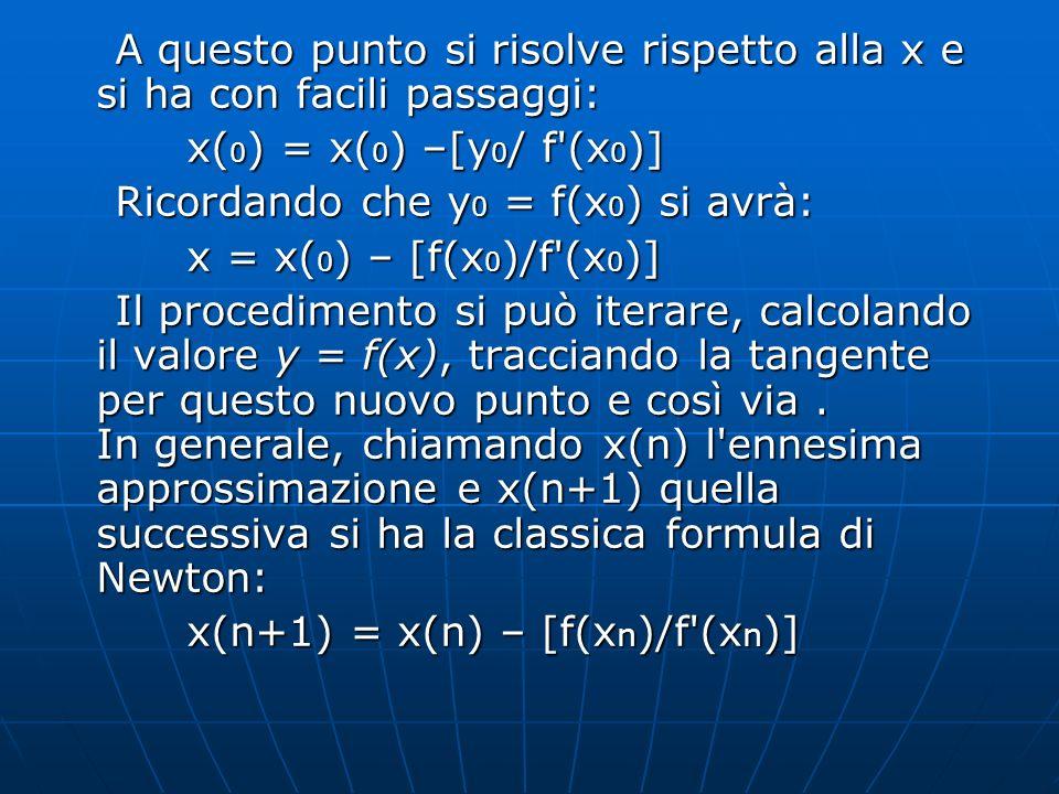 A questo punto si risolve rispetto alla x e si ha con facili passaggi: