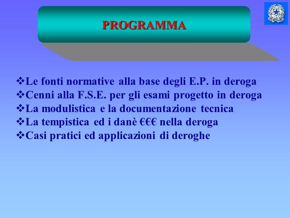 PROGRAMMA Le fonti normative alla base degli E.P. in deroga