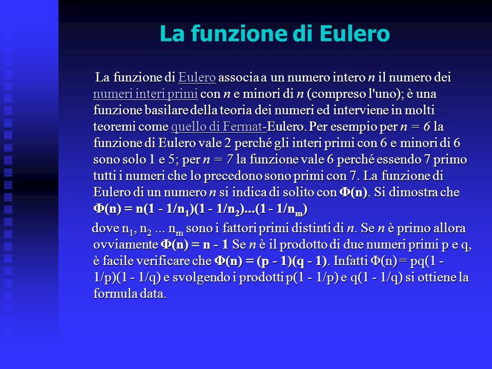 La funzione di Eulero