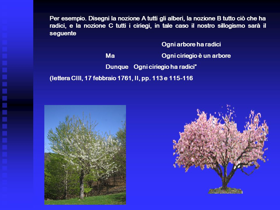 Per esempio. Disegni la nozione A tutti gli alberi, la nozione B tutto ciò che ha radici, e la nozione C tutti i ciriegi, in tale caso il nostro sillogismo sarà il seguente