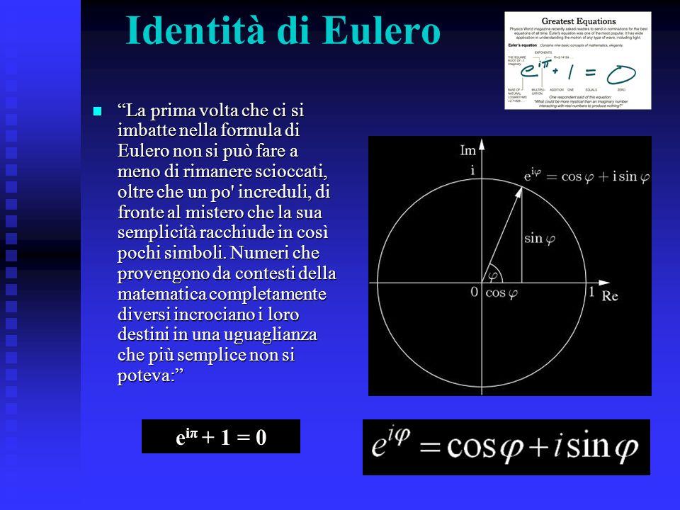Identità di Eulero eiπ + 1 = 0