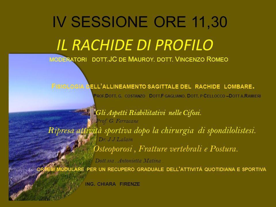 IV SESSIONE ORE 11,30 IL RACHIDE DI PROFILO