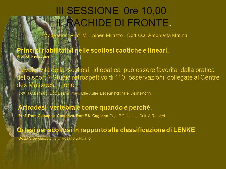 III SESSIONE 0re 10,00 IL RACHIDE DI FRONTE.