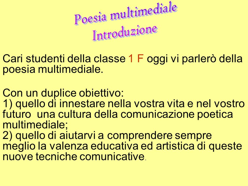 Poesia multimediale Introduzione