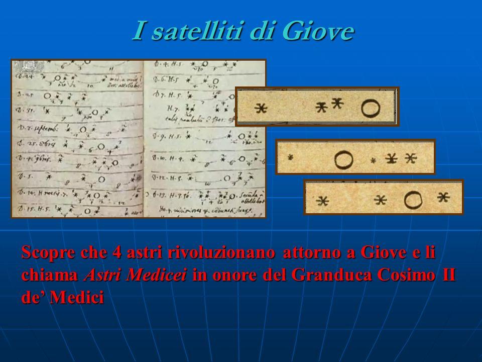 I satelliti di Giove Scopre che 4 astri rivoluzionano attorno a Giove e li chiama Astri Medicei in onore del Granduca Cosimo II de' Medici.