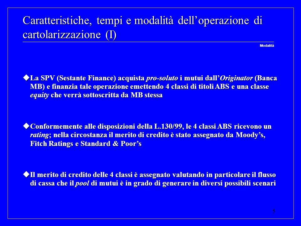 Caratteristiche, tempi e modalità dell'operazione di cartolarizzazione (I)