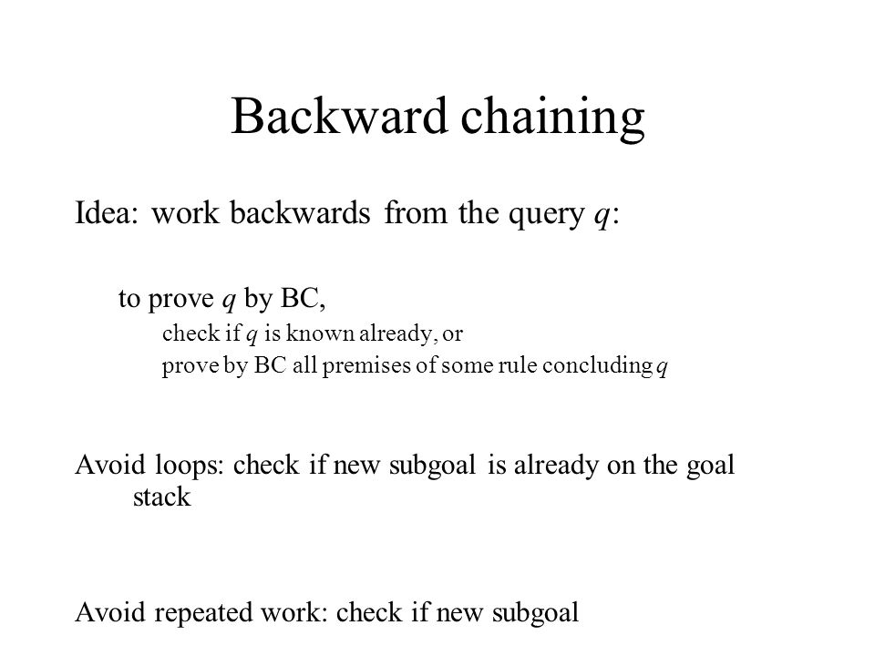 Backward chaining Idea: work backwards from the query q: