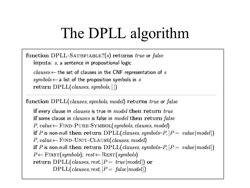 The DPLL algorithm