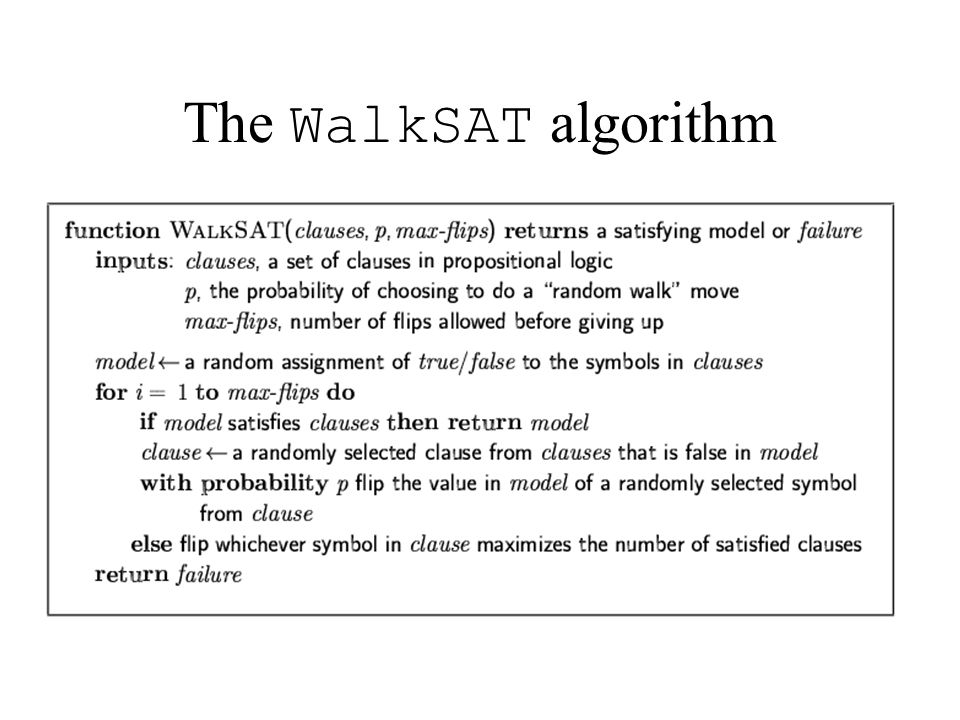 The WalkSAT algorithm
