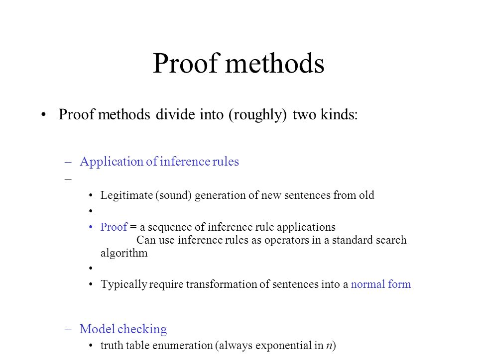Proof methods Proof methods divide into (roughly) two kinds: