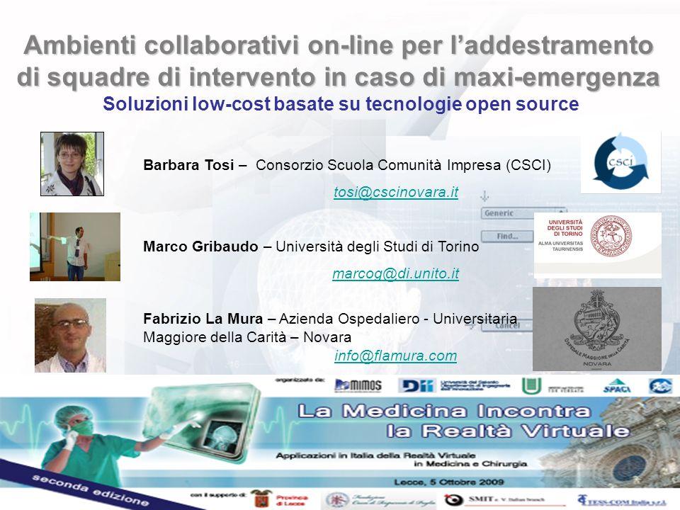 Ambienti collaborativi on-line per l'addestramento di squadre di intervento in caso di maxi-emergenza Soluzioni low-cost basate su tecnologie open source