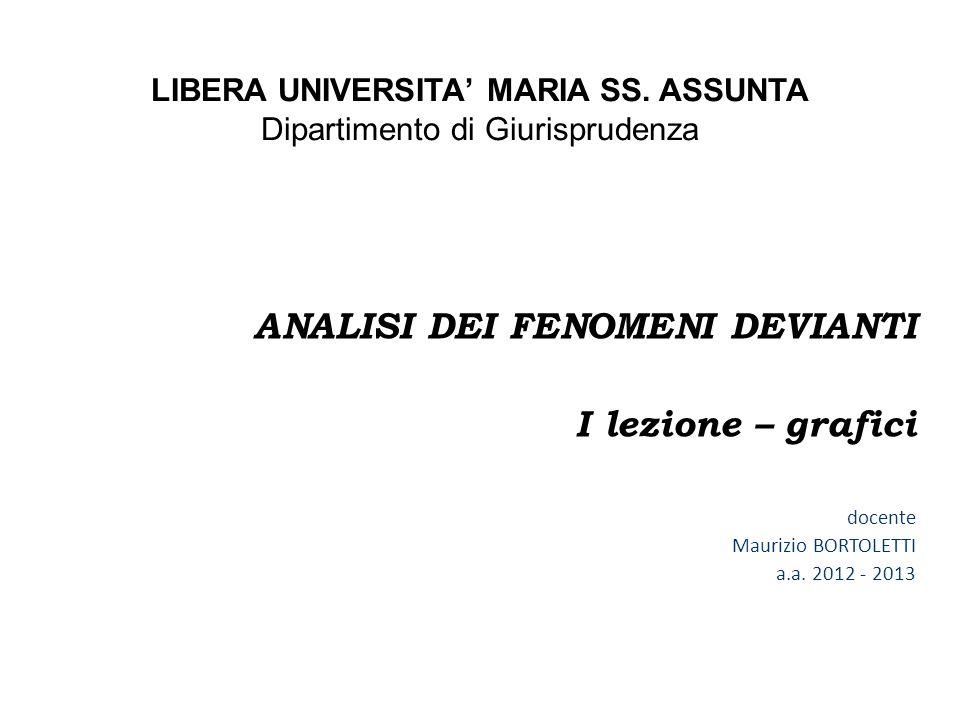 LIBERA UNIVERSITA' MARIA SS. ASSUNTA
