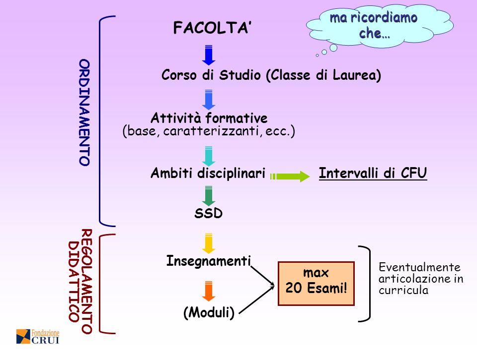 Corso di Studio (Classe di Laurea) REGOLAMENTO DIDATTICO