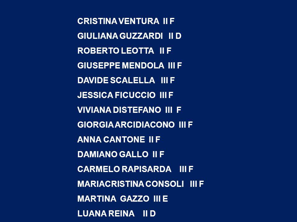 CRISTINA VENTURA II F GIULIANA GUZZARDI II D. ROBERTO LEOTTA II F. GIUSEPPE MENDOLA III F. DAVIDE SCALELLA III F.