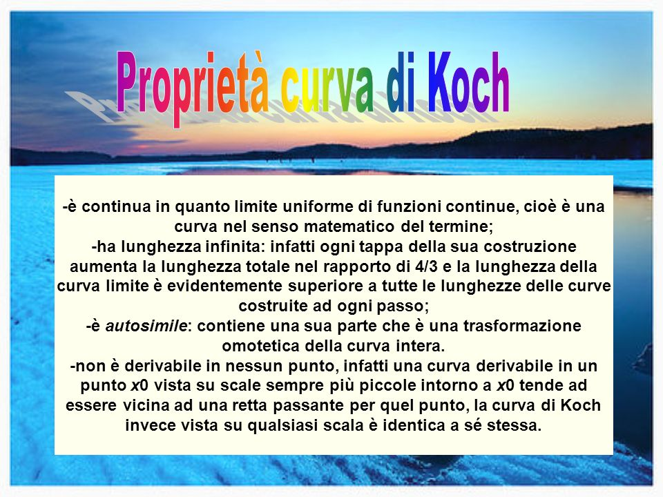 Proprietà curva di Koch