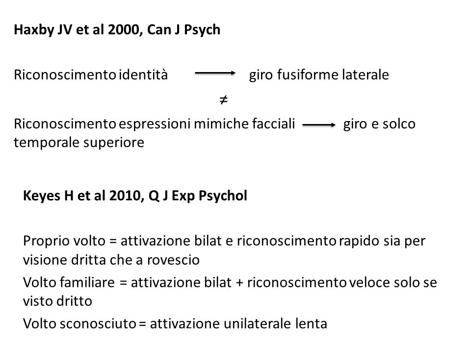 ≠ Haxby JV et al 2000, Can J Psych