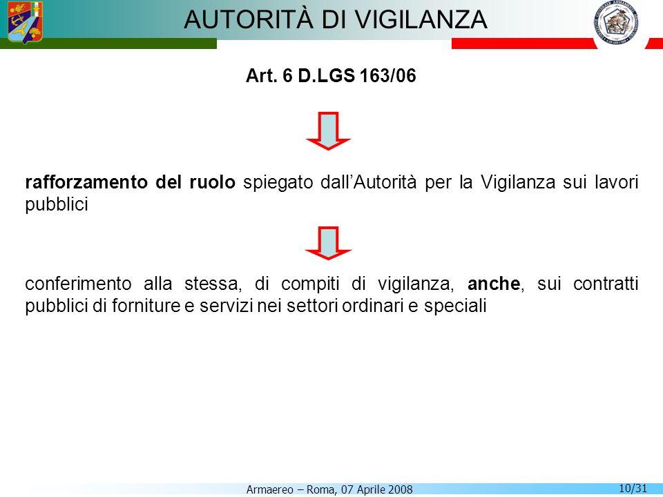 AUTORITÀ DI VIGILANZA Art. 6 D.LGS 163/06