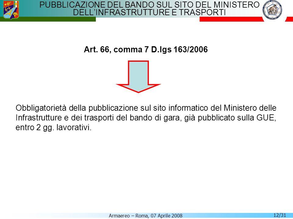 PUBBLICAZIONE DEL BANDO SUL SITO DEL MINISTERO DELL'INFRASTRUTTURE E TRASPORTI