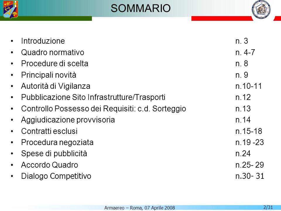 SOMMARIO Introduzione n. 3 Quadro normativo n. 4-7