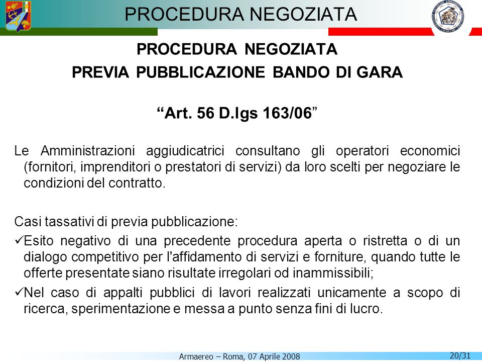 PREVIA PUBBLICAZIONE BANDO DI GARA
