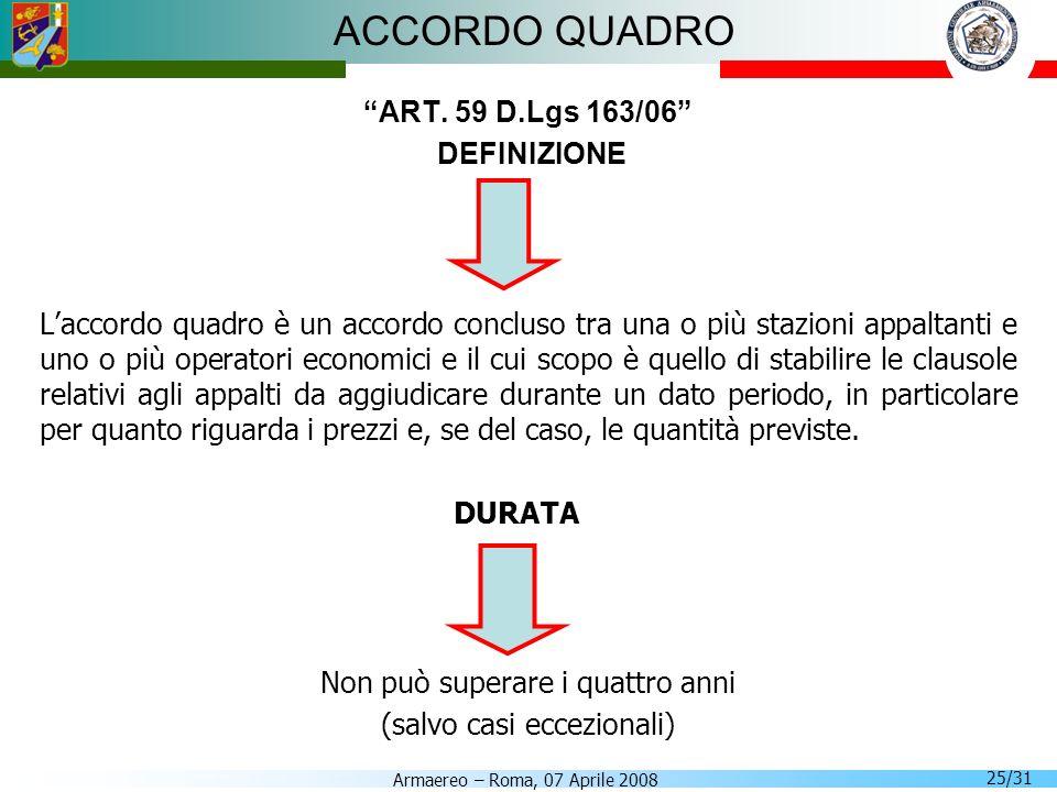 ACCORDO QUADRO ART. 59 D.Lgs 163/06 DEFINIZIONE