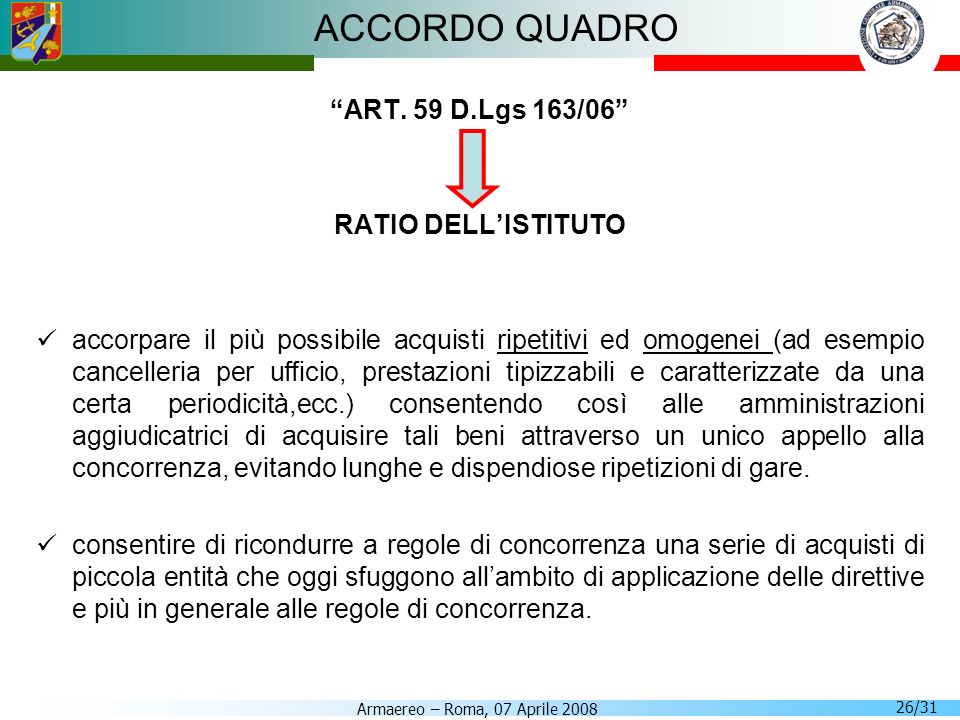 ACCORDO QUADRO ART. 59 D.Lgs 163/06 RATIO DELL'ISTITUTO