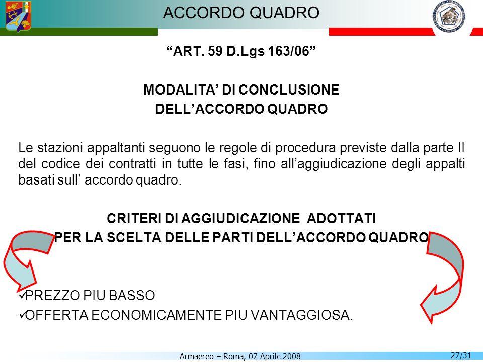 ACCORDO QUADRO ART. 59 D.Lgs 163/06 MODALITA' DI CONCLUSIONE