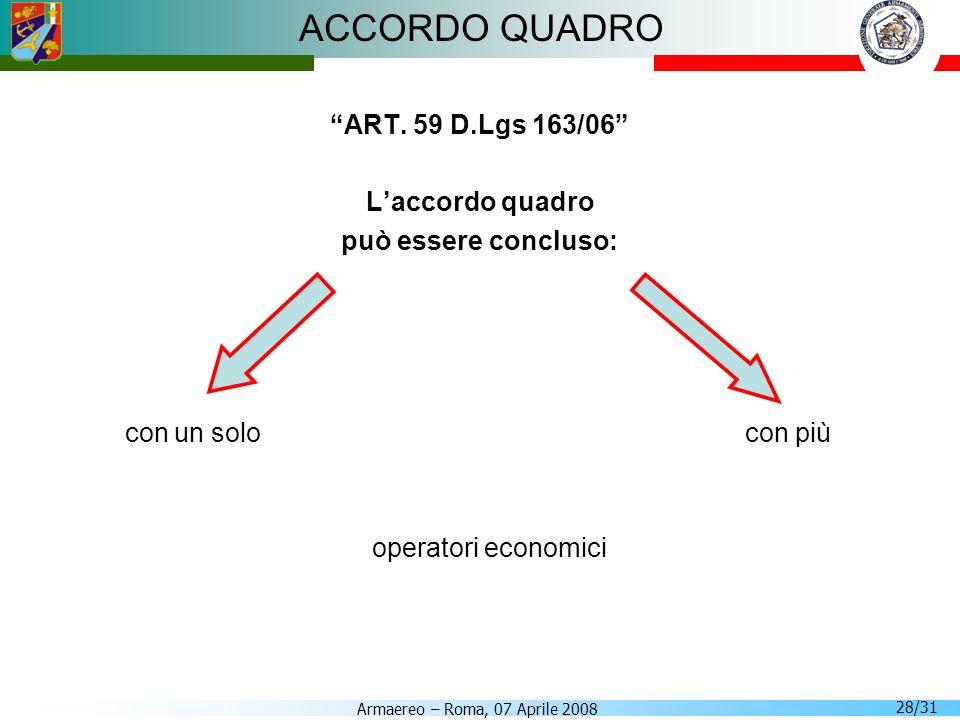 ACCORDO QUADRO ART. 59 D.Lgs 163/06 L'accordo quadro