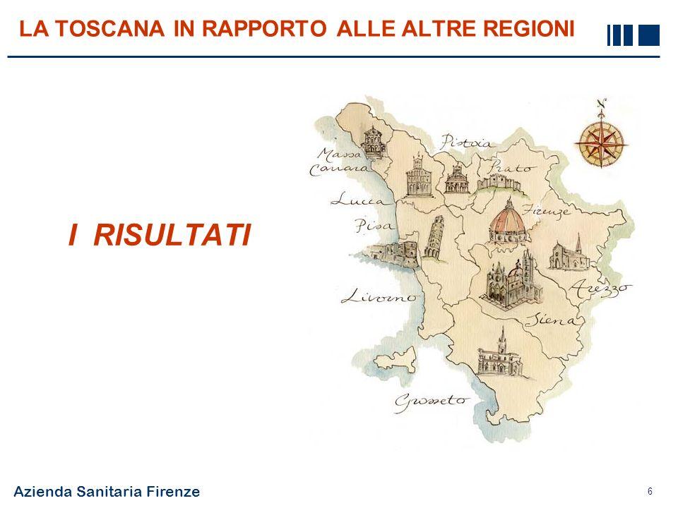 La Toscana in rapporto alle altre Regioni