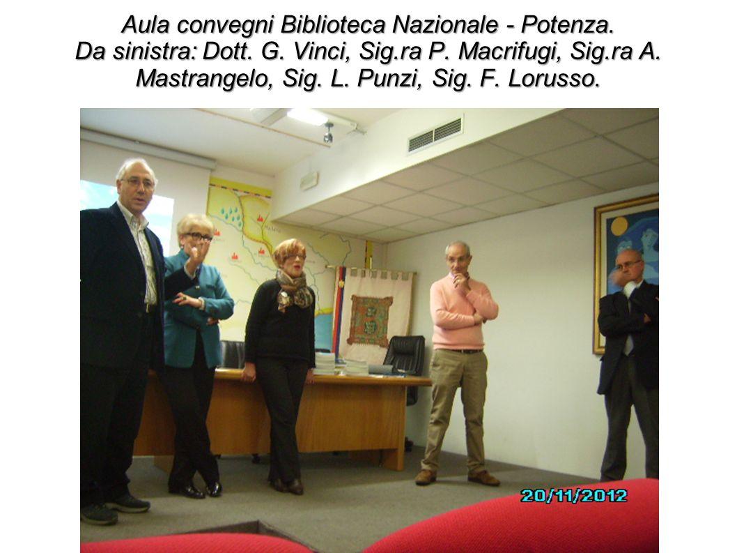 Aula convegni Biblioteca Nazionale - Potenza. Da sinistra: Dott. G