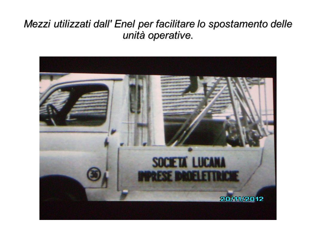 Mezzi utilizzati dall Enel per facilitare lo spostamento delle unità operative.