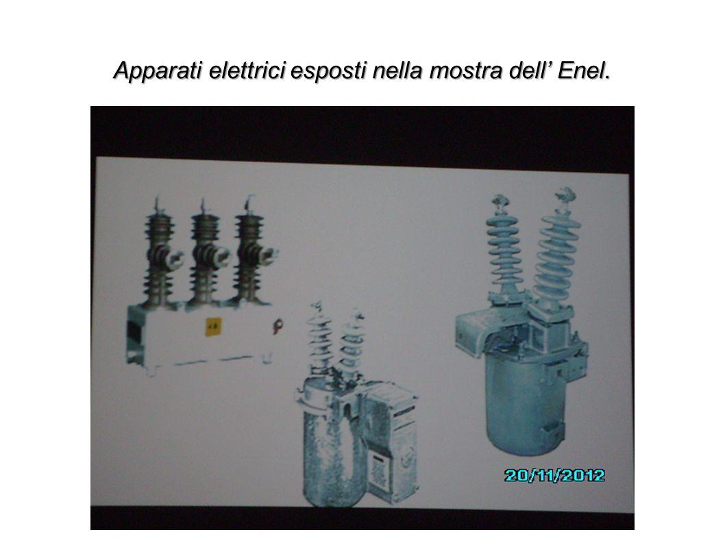 Apparati elettrici esposti nella mostra dell' Enel.