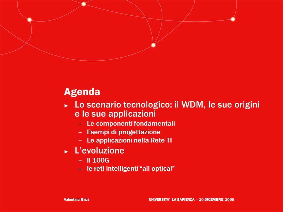 Agenda Lo scenario tecnologico: il WDM, le sue origini e le sue applicazioni. Le componenti fondamentali.