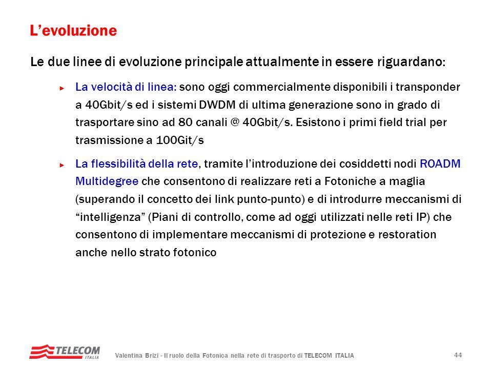 L'evoluzione Le due linee di evoluzione principale attualmente in essere riguardano: