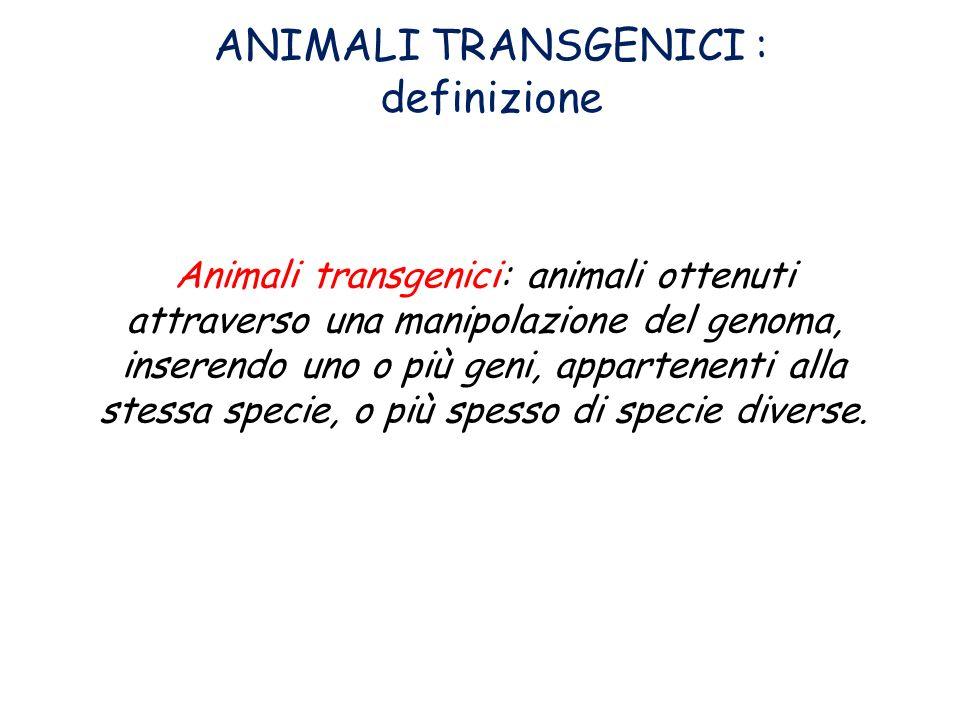 ANIMALI TRANSGENICI : definizione