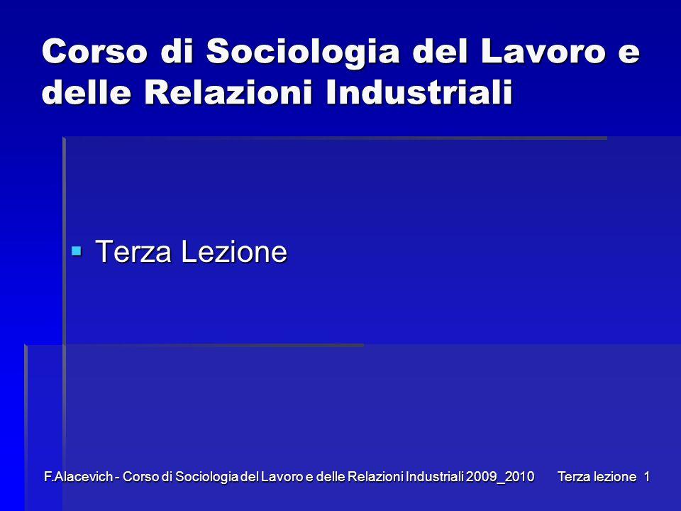Corso di Sociologia del Lavoro e delle Relazioni Industriali