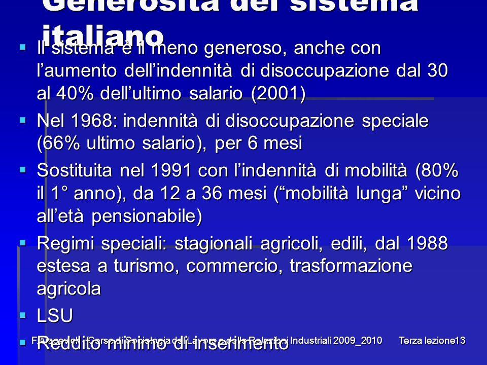 Generosità del sistema italiano