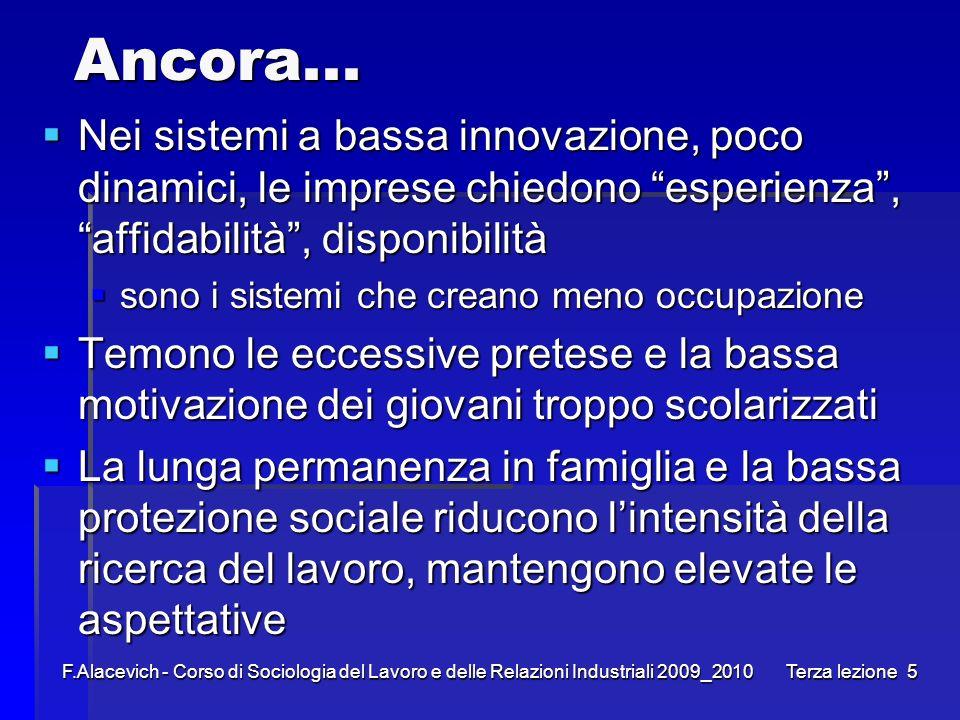 Ancora... Nei sistemi a bassa innovazione, poco dinamici, le imprese chiedono esperienza , affidabilità , disponibilità.