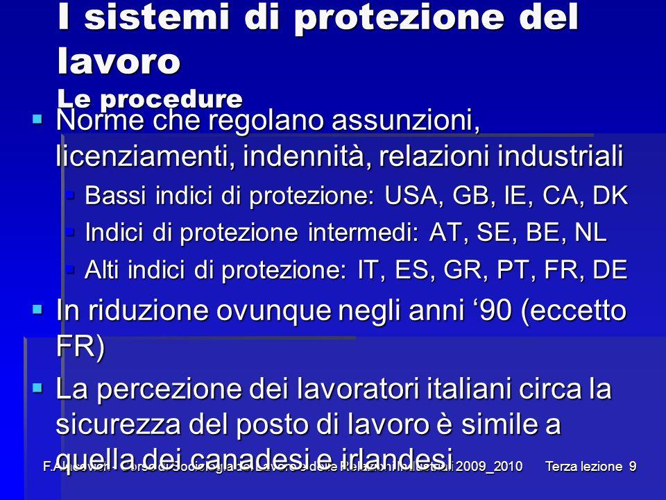I sistemi di protezione del lavoro Le procedure