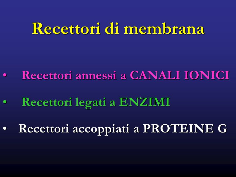 Recettori di membrana Recettori annessi a CANALI IONICI