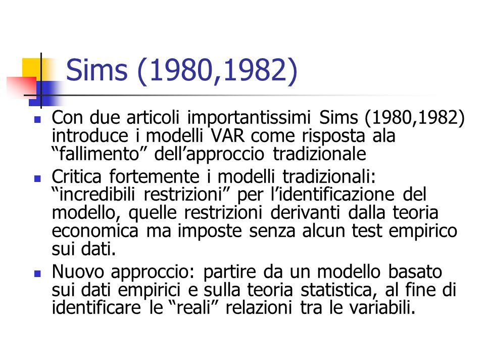 Sims (1980,1982) Con due articoli importantissimi Sims (1980,1982) introduce i modelli VAR come risposta ala fallimento dell'approccio tradizionale.