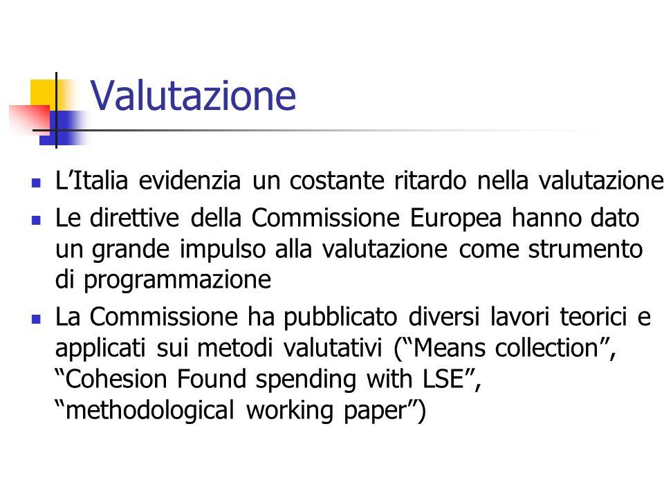 Valutazione L'Italia evidenzia un costante ritardo nella valutazione