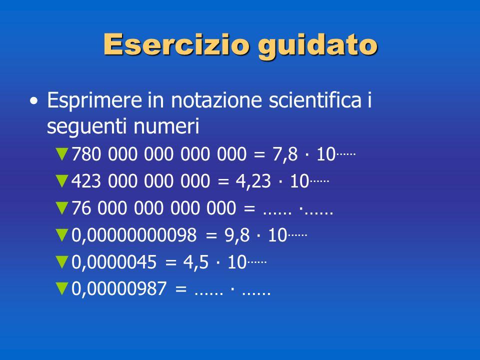 Esercizio guidato Esprimere in notazione scientifica i seguenti numeri