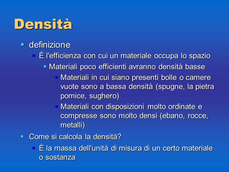Densità definizione. È l efficienza con cui un materiale occupa lo spazio. Materiali poco efficienti avranno densità basse.