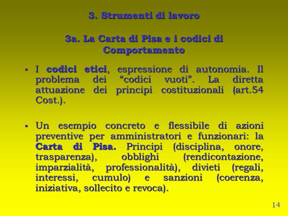 3. Strumenti di lavoro 3a. La Carta di Pisa e i codici di Comportamento