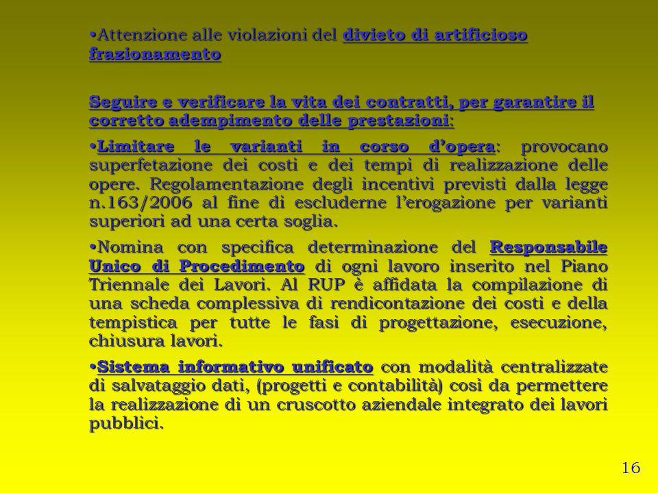 Attenzione alle violazioni del divieto di artificioso frazionamento